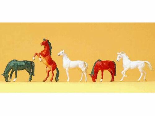 Preiser 10156 Pferde verschiedene Farben 5 Figuren Pferd Fohlen H0 Neu