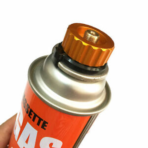 Camping Stove Butane Gas Metal Adapter Convert Fuel Canister for Long Gas Tan