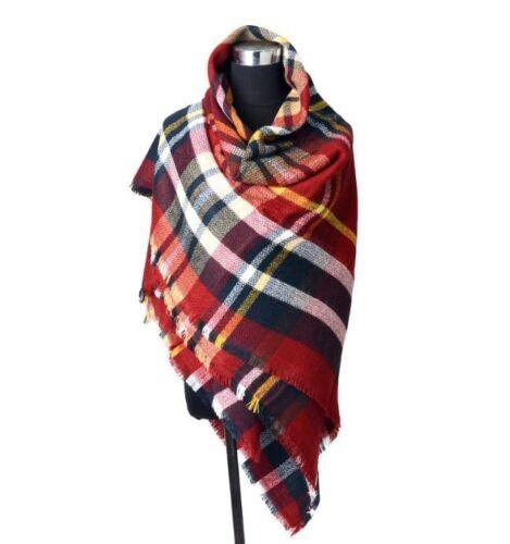 7a7c3befa3b0 Large Cape Style Scarf Scarves Thick Tartan Wrap Plaid Wool Pashmina Shawl  UK. click thumbnails above to enlarge