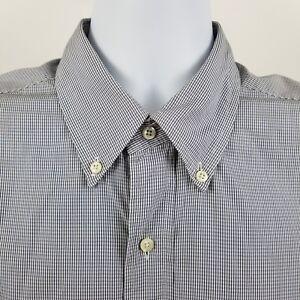 Brooks-Brothers-1818-Men-039-s-L-S-Dress-Button-Shirt-Blue-Mini-Check-Sz-Large-L