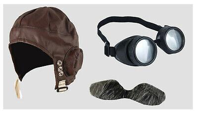 Fancy Dress Biggles Pilot Aviator Hat with Pilot Glasses,Tash Airman WW2 1940s