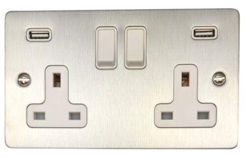 G/&h FSS910W Plat Plaque en Acier Brossé 2 Gang Double prise de courant USB