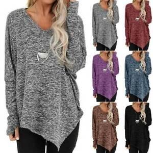 Women-Thumb-Hole-Long-Sleeve-Tunic-T-Shirt-Autumn-Casual-Loose-Blouse-Long-Tops