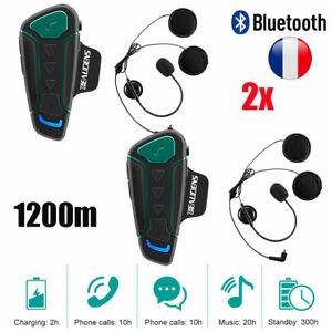 2x 1200M BT casque de moto interphone casque écouteurs interphone mains libres
