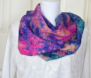 Silk-Soft-Pink-Blue-Multi-Color-Tie-and-Dye-Scarf