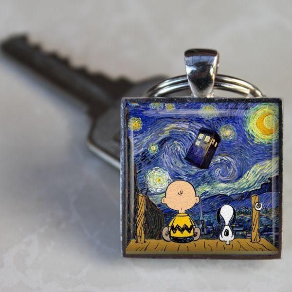 SNOOPY DR. WHO TARDIS STARRY NIGHT Van Gogh Keychain Stocking Stuffer Fan GIFT