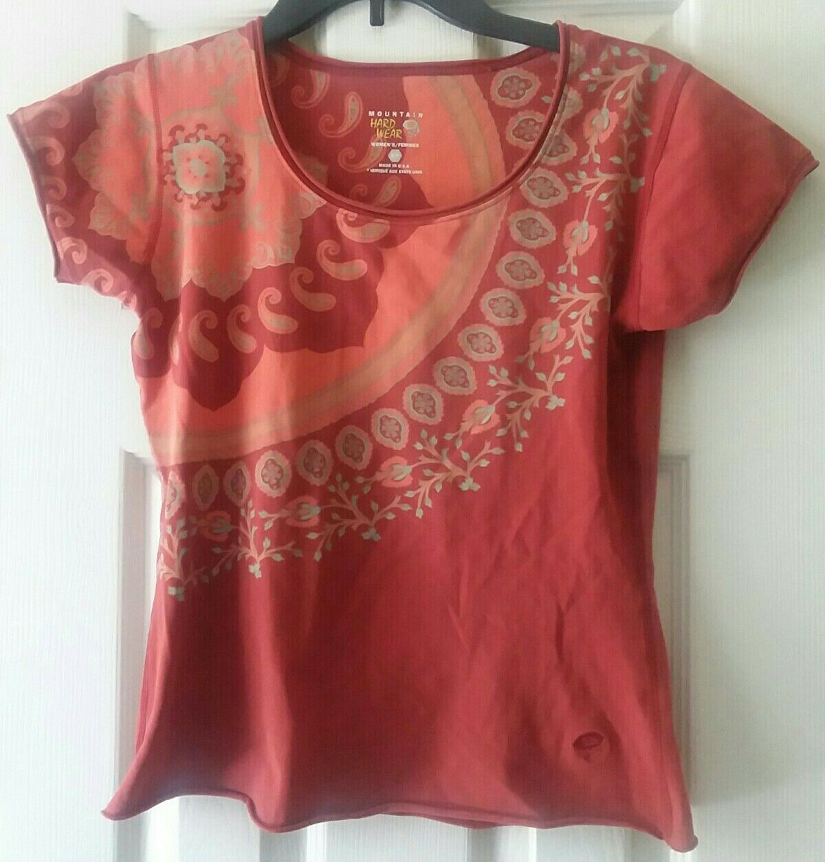 Mountain Hard Wear Red Patterned Top Size Women's Adult Small