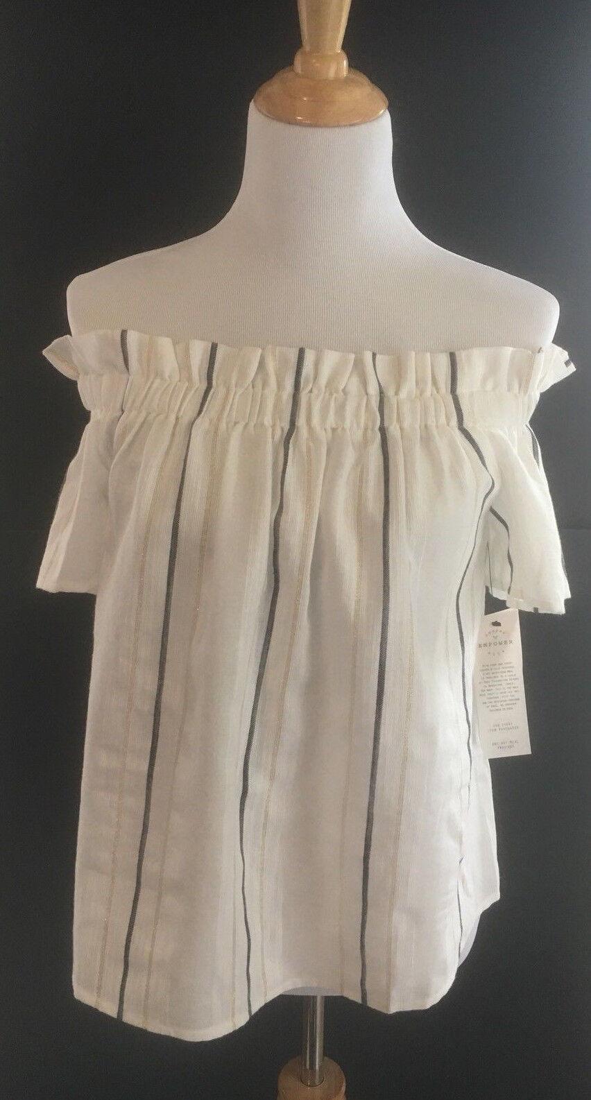 Cooper And Ella Fernanda Off The Shoulder Top Ivory damen Large Blouse Shirt