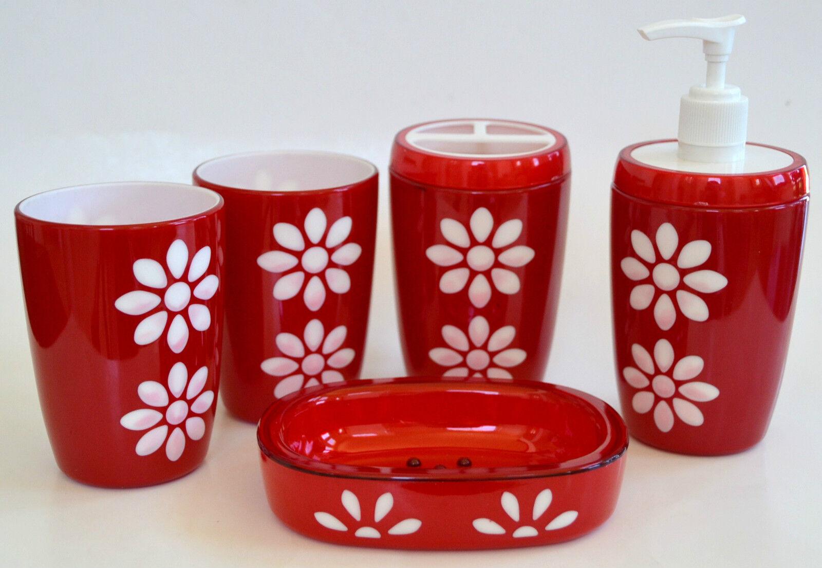 Neu 5 Teile Set Rot + Weiße Blaume Seifenspender + Schale+2 Becher+Zahnbürste+