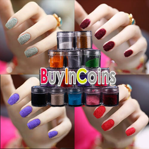14 Colors Choose Fuzzy Flocking Velvet Design Powder Nail Polish Art Tip HFAU