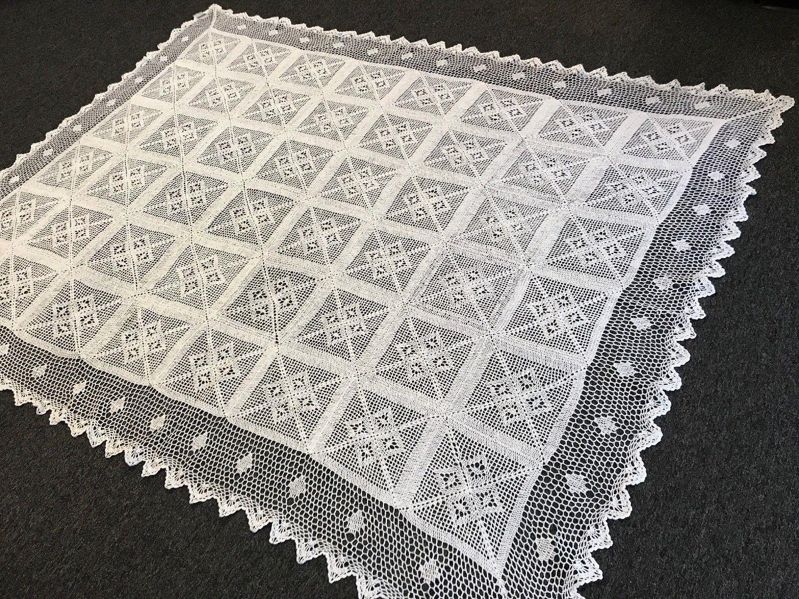 72x144  blanc Couleur 100% Cotton Handmade Crochet Rectangle Vintage Tablecloths