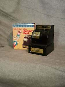 Vintage Uncle Sam's Metal 3 Coin Cash Register Bank Toy, Working with Box
