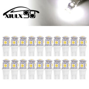 20x-6000K-Pure-White-T10-Wedge-5050-5LED-Light-bulb-W5W-168-921-192-194-2825-158