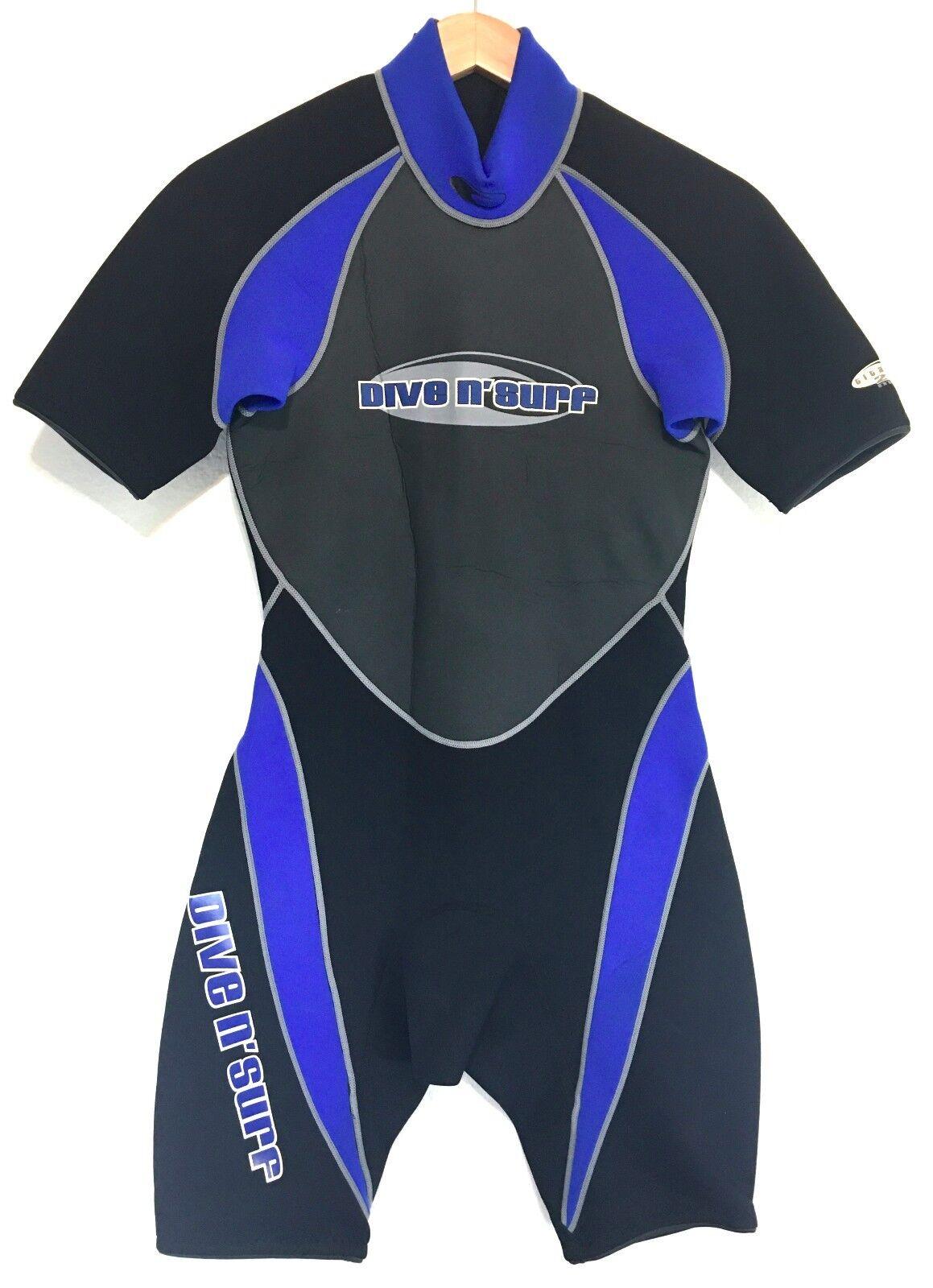 Dive N Surf Mens Spring Shorty Wetsuit Size Small S Titanium 2 2