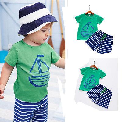 Summer Casual Kid Toddler Baby Boy T-Shirt Tops+Beach Shorts Pants 2PCS Clothes