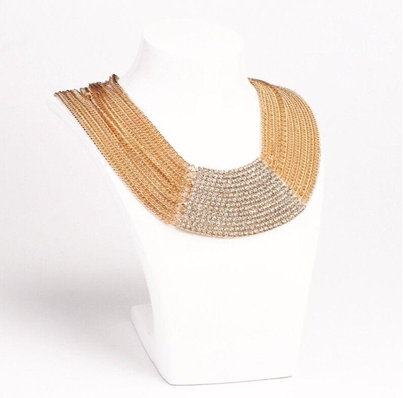 Halskette luxus Statement Collier Extra breite Kette Strass Boho Abendkleid Neu