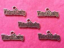 "Tibetan Silver ""Winter is Coming"" Charms x 5 - Game of Thrones themes"