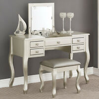 Elegant Bedroom Makeup Vanity Table Flip Up Mirror Drawers Queen Anne Leg Silver