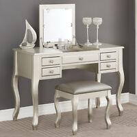Elegant Bedroom Makeup Vanity Table Flip Up Mirror Drawers Queen Anne Leg Silver