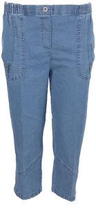 I47-Womens-Elasticated-Waist-Mock-Denim-Plus-Size-Ladies-3-4-Short-Trouser-Pants