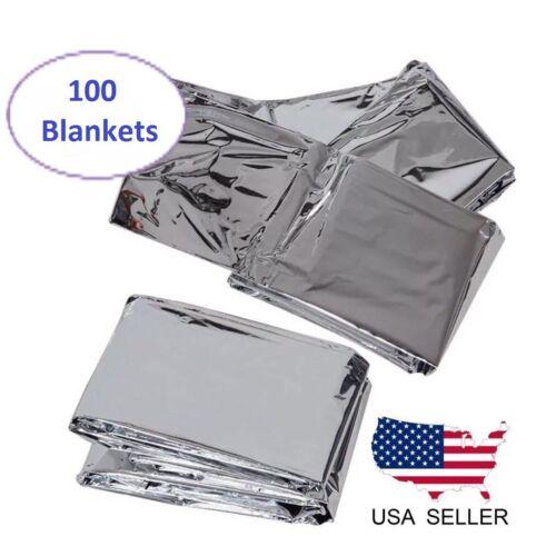100 PACK • Emergency Solar Blanket Survival Safety Insulating Mylar Thermal Heat