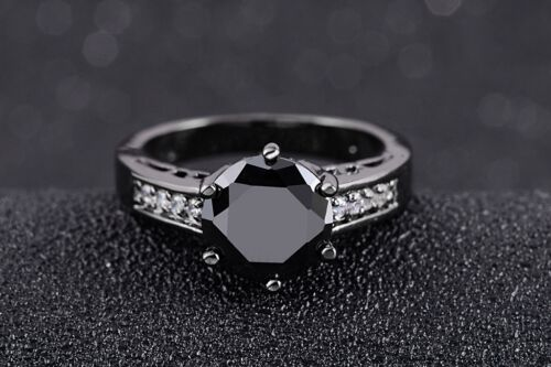 Luxe Femme bijoux Noir Sapphire Black Gold Filled anneaux de mariage Taille 6-9