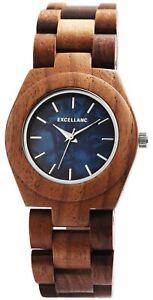 Excellanc-Damenuhr-Holz-Blau-Perlmutt-Braun-Analog-Quarz-Armbanduhr-X1800192003