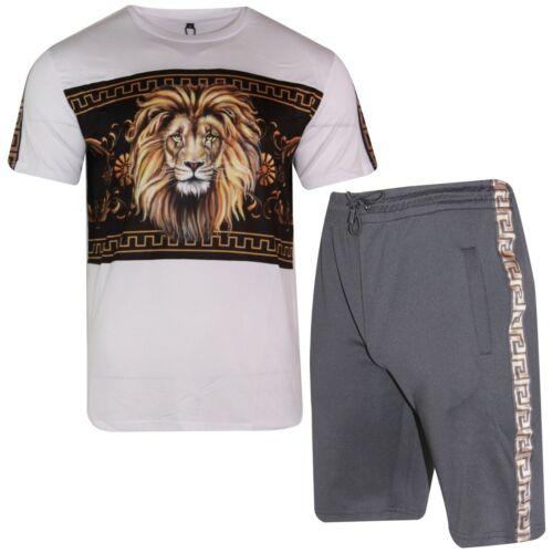 Details about  /Mens Polyester T Shirt Shorts Set LION PRINT Tracksuit Summer Comfortable Fit