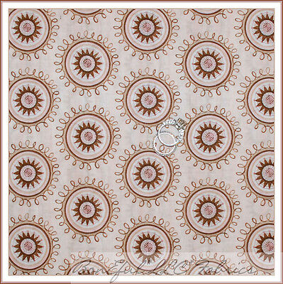 BonEful Fabric FQ Cotton Quilt VTG Pink Cream Brown Flower Dot Star Swirl Scroll