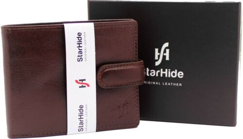 STARHIDE Real Leather Mens Wallet Purse Credit Card Holder Coin Pouch 1212 Brown