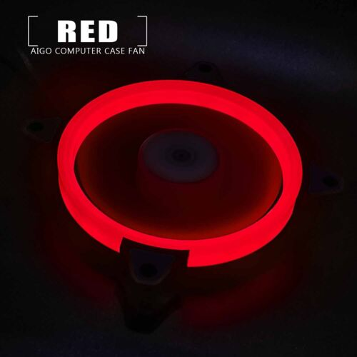 1pcs Aigo Red Halo LED 140mm PC CPU Computer Case Cooler Ring Clear Quite Fan