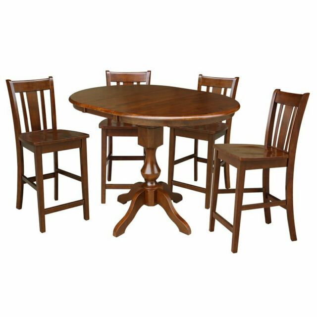 Strange 36 Round Extension Dining Table 34 9H With 4 Rta Counter Height Stools Beatyapartments Chair Design Images Beatyapartmentscom