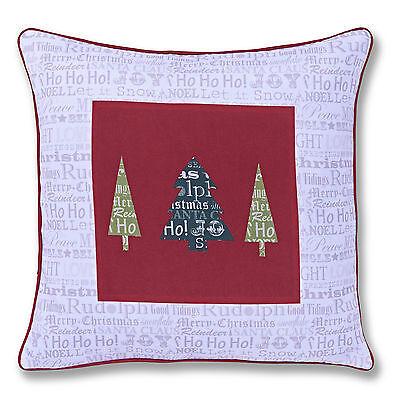 Catherine Lansfield Designer Christmas Slogans Red White 43x43cm Cushion Cover
