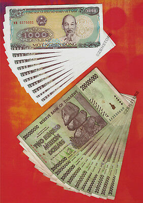 10 x 200 Million Zimbabwe Dollars 2008 10 x 1,000 Viet Nam Dong Banknotes 1988