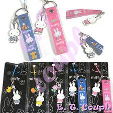 2PC Miffy rabbit bunny pink blue couple adorable cellphone strap Disney keychain