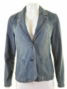 MONSOON-Womens-Denim-Blazer-Jacket-UK-12-Medium-Blue-Cotton-KR13