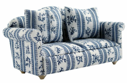 1//12 Streets Ahead Dolls House Patterned Blue Sofa//Settee DF890