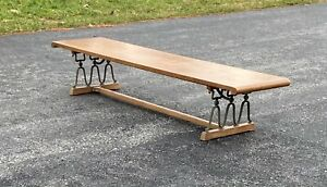 Drexel Wooden  Bench  With Cast iron Legs