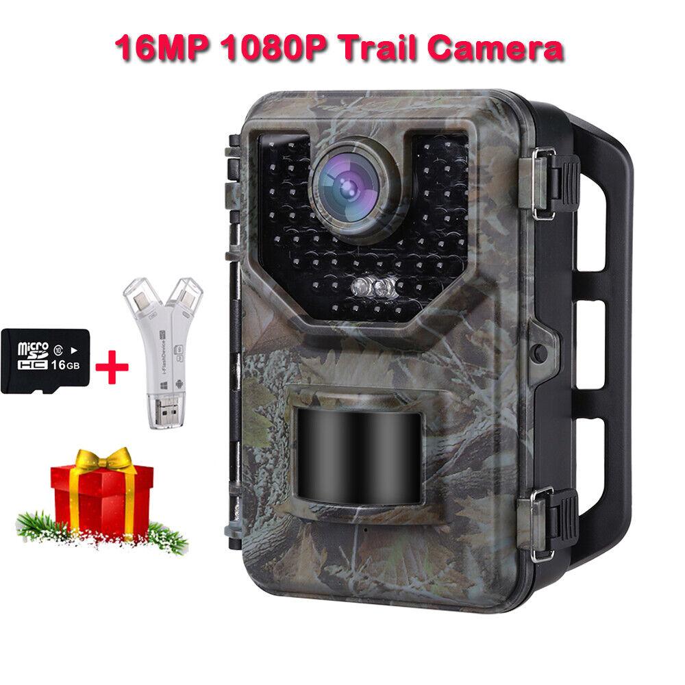 Camara caza 16MP 1080P Visión Nocturna Trail Cam Foto trampa gatillo 120 ° 0.5S