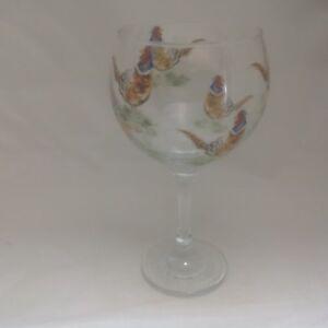 PHEASANT-DESIGNS-ON-LARGE-GIN-BALLON-GLASS