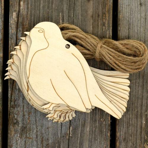 10x in legno Robin per Craft Forma 3mm in legno compensato WINTER BIRD Animale Native
