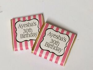 24 x Personalised Mint Chocolate Party Favour Birthday Wedding Baby Candy Stripe