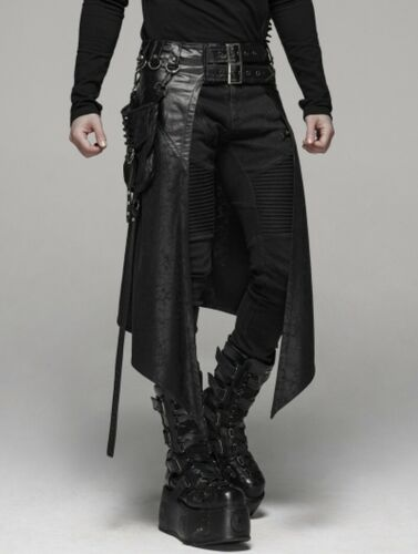 Punk Rave Black Gothic Steampunk Metal Pocket Men/'s Personalized Half Skirt