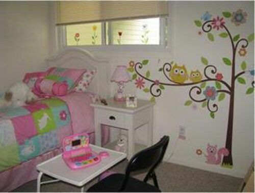 Removabl Owl Swing Flower Tree Wall decal Kids Nursery  Stickers Decor Art Large