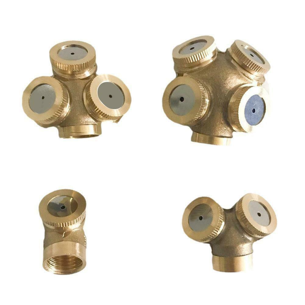 Garden Watering Spray Nozzle 1/4-Head Brass Irrigation Sprinkler x1 Pc 4-Ports Y