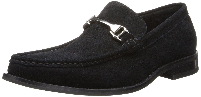 Nuevo Stacy Adams Para Hombre Flynn Moc Toe Bit resbalón en el zapato de Vestido De Gamuza Negra 24914-008