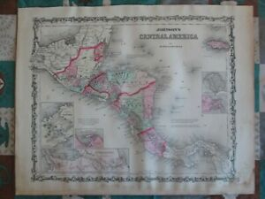 1862 Central America 1862 map reprint 2 color choices /& 4 LXL sizes up to 48 x 36 in 1 or 4 pieces Johnson/'s Central America reprint