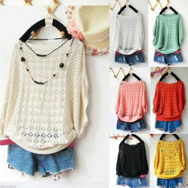 Chic Fashion Women Loose Knitted Sweater Pullover Cute Knitwear Clothing Top J