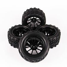 4 X Rubber Tires Tyre Wheel Rims For HSP RC 1:10 Monster Bigfoot Truck 12mm Hex