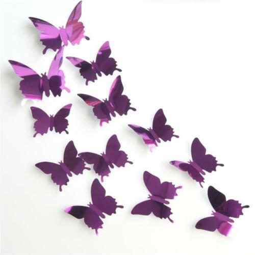 Popular Home Decor Mural Decal 3D Mirror Wall Sticker PVC Butterflies